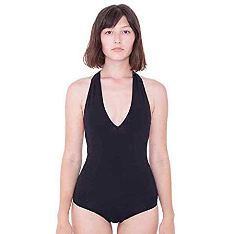 Women's Cotton Spandex Halter Leotard (RSA8312) V-neck Halter Design American Apparel (Small, Black)