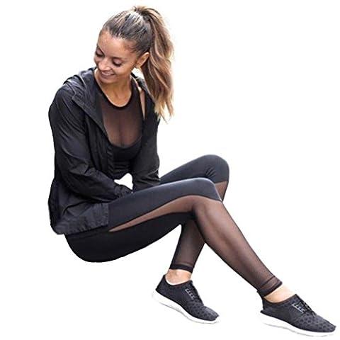CYBERRY.M Women Fitness Leggings High Waist Mesh Patchwork Leggings Skinny Push Up Pants (L)