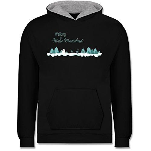 Kostüm Winter Kinder Wonderland - Weihnachten Kind - Walking in a Winter Wonderland Schnee - 12-13 Jahre (152) - Schwarz/Grau meliert - JH003K - Kinder Kontrast Hoodie