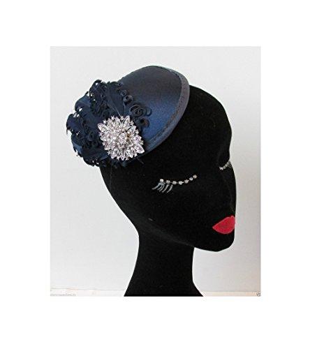 Starcrossed Beauty Bibi à plumes Bleu marine/argenté Accessoire clip pour Cheveux style vintage années 1920