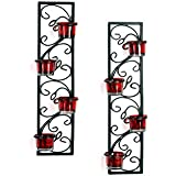 Hosley Decorative Wall Sconce/Candle Holder with Red Glass and Free T-light Candles (Set of 2)