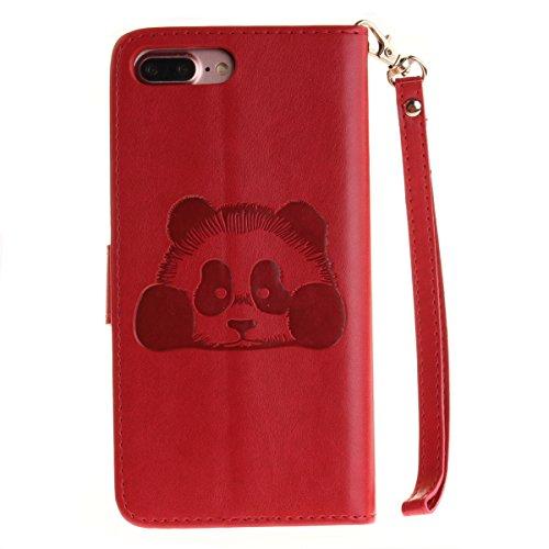 iPhone 7 Plus Hülle,iPhone 7 Plus 2016 Schutzhülle,JAWSEU Niedlich Lanyard/Strap Bookstyle Pink Elefant Muster Pu Ledertasche Magnetverschluss Handyhülle Wallet Brieftasche Etui Case Cover mit[Ständer Panda,Rot
