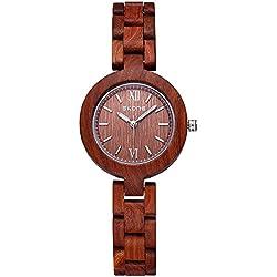Alienwork Quartz Watch natural solid wood Wristwatch Handmade Maplewood red red UWQ7400-02