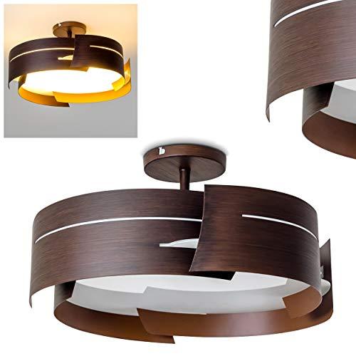 Novara Deckenleuchte in Braun - Deckenlampe modern im Wellen-Design - 3 x E27 max. 60W - Designer-Leuchte für das Esszimmer - Küchen Lampe - Metall-Deckenlampe mit Lampenschirm aus Glas -LED-geeignet