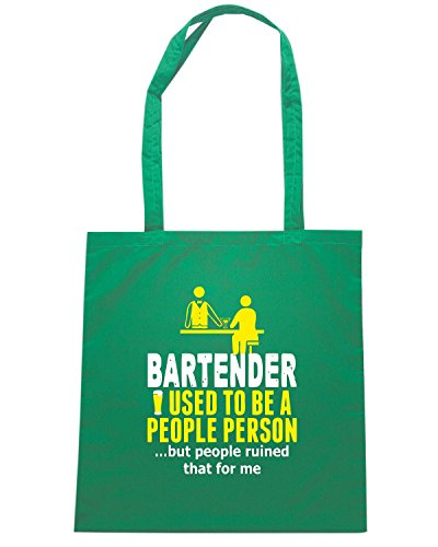 T-Shirtshock - Borsa Shopping BEER0177 Bartender Used To Be A People Person But People Ruined That For Me Verde
