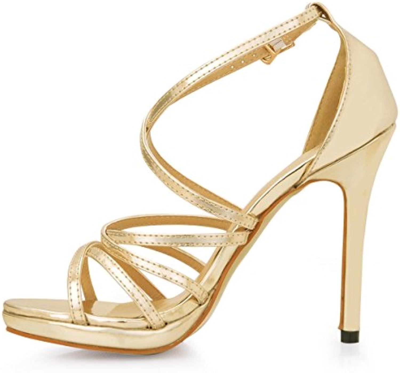 Best 4U® Frauen High Heels Sandaletten Stiletto Crossing Straps Lackleder Gummisohle Runde Kappe 12CM Heel Sommerö