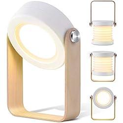 Lampara de Mesilla de Noche LED Bontón táctil con 3 modos de luz Recargable Uso Inalambrico, buen regalo de MUBYTREE