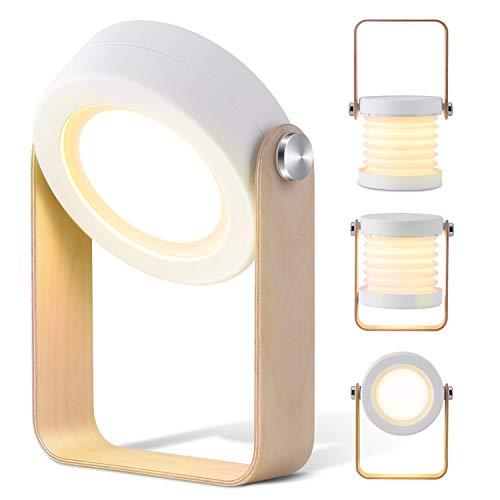 Lampe de Chevet Tactile LED Lampe de Table Veilleuse avec 3 Mode de Lumière sans Fil Rechargeable MUBYTREE