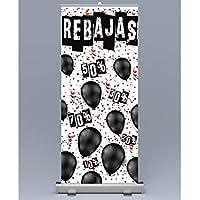 Oedim Roll up Rebajas 85x200cm | Impresión Incluida Máxima Calidad de Impresión, Anti Curbing, antibalanceo | Rollup, Expositor publicitario enrrollable.