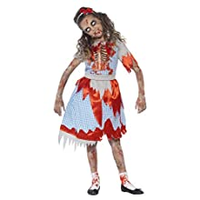 Smiffy's Children's Zombie Country Girl Costume, Dress, Skeleton Detail & Headband, Colour: Blue and Red, Size: M, 44284