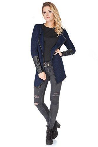 futuro Fashion Femmes Élégant Cardigan chaud avec Cuir écologique MANCHES LONGUES acrylique tricot Cape Style Taille Unique 8-14 UK Bleu Marine