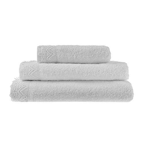 Homescapes weißes Handtuch mit Spitzenrand, 100% Baumwolle, 50 x 85cm