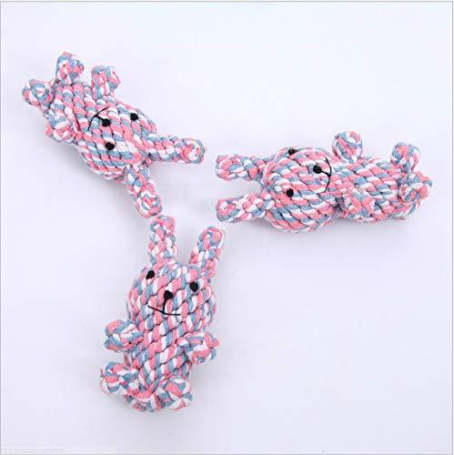 NIJY Grüne Baumwolle Seil Hundespielzeug Knoten Stricken Spielzeug Kaninchen Beißen Saubere Zähne Hundespielzeug Heimtierbedarf 13 * 6Cm - Stricken Kaninchen