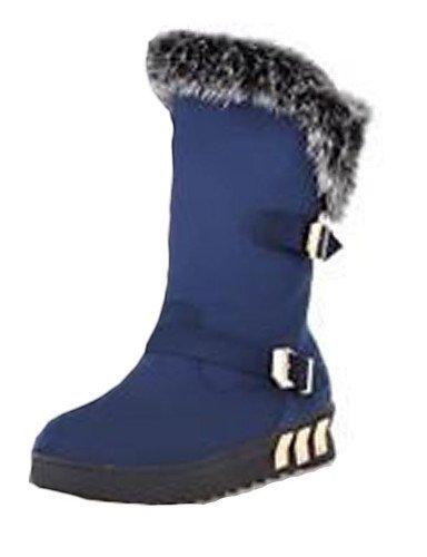 Calçados Femininos Botas De Moda Shangyi O Outono / Inverno Sapatos Velo Calcanhar Plana Ocasional Outro Preto / Azul