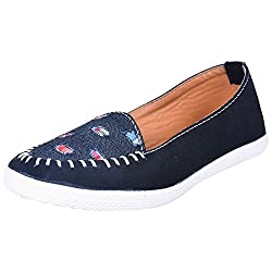 Footrendz Womens Ethnic Black Denim Synthetic Leather Loafers (36 EU)