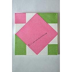 Serviette origami - Nénuphar rose - 12 pièces - Graines créatives