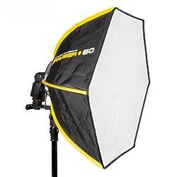 SMDV D60 II Firefly Pro Beauty Softbox Diffuser (Leuchtfläche 60 cm, geeignet für Blitzgeräte) schwarz/gelb
