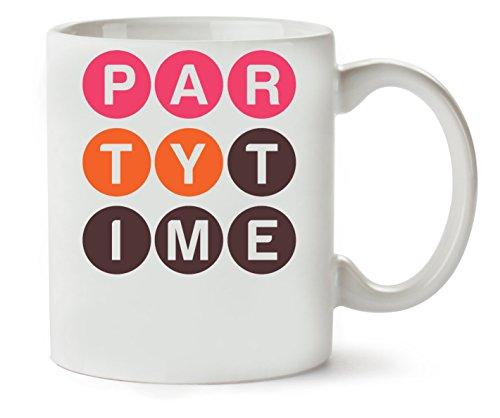 MugWorld Party Red Orange Balls Letters Graphic Tasse Classique De Thé Tasse De Café