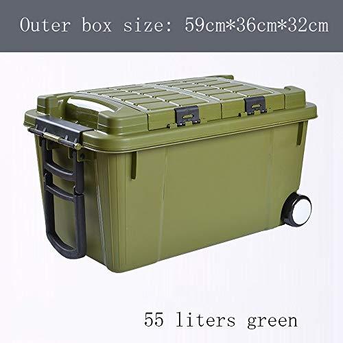 AXWT 55 Liter Kofferraum Aufbewahrungsbox Aufbewahrungsbox Autozubehör Aufbewahrungsbox für Autoschrott Auto-Endbearbeitungsbox Riemenscheibe Aufbewahrungsbox Angelbox (Color : Green) -