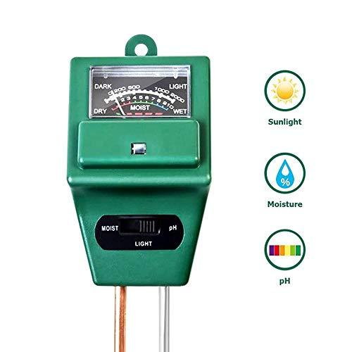 leegoal Bodentester,3 in 1 Boden-PH-Meter-Feuchtemessgerät,digitaler Soil-Moist-Tester/Analyzer/Detektor-Reader mit Sondensensor,Sonnenlicht-Testmessgerät für Garten,Bauernhof,Rasen,Indoor & Outdoor