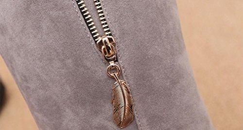 Longra Stivali solidi di colore solido di inverno Stivali di cuoio artificiali in cuoio Stivali di mezzo cilindro Stivali di cotone piatti Grigio