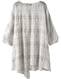 982d5d6b418c93 LANOMI Asymmetrisches Leinen Baumwolle Tunika T Shirt Bluse Oberteile Tops  Sommer Longshirt Locker 34…