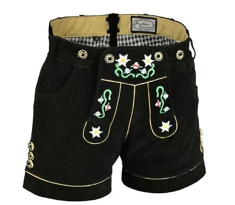Damen Trachten Lederhose kurz aus feinem Premium-Velourleder mit Blumenstick und Herztasche, Schwarz, Gr.34