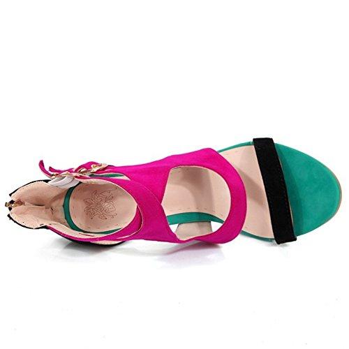 TAOFFEN Femmes Talons Hauts Cut-out Sandales Mode Bout Ouvert Ete Chaussures Noir