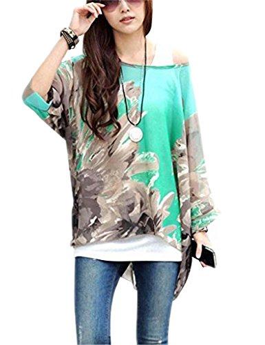 Donna Manica 3/4 Bohemian Banda Chiffon Blouse Estate T Shirt Stampa ( Verde ) Grigio