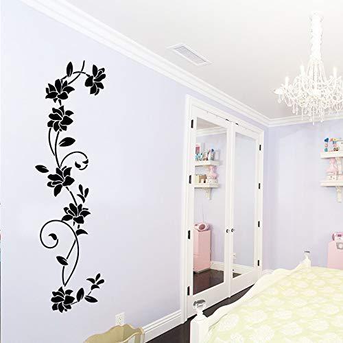 yiyiyaya Nette Blumen WandaufkleberWandkunstAufkleber Schlafzimmer Dekor Zubehör Dekor für Wohnzimmer Abnehmbare Babys Zimmer Muraux schwarz43 cm X 155 cm
