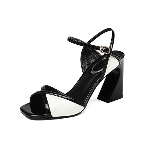 EARIAL& Cross-Tied High Heels Sandals Women Peep Toe Fashion Party Genuine Leather Buckle Strap Woman Sandals Mixed Colors Pumps White 37 Nine West T-strap-pumps