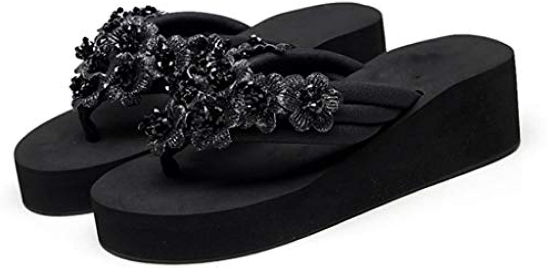 tongs huyp noires, des sandales, été les de filles, avec plage de les glisser sur les chaussures de plage (taille: 40) 31e7d5