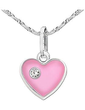 CLEVER SCHMUCK-SET Silberner Anhänger kleines Herz rosa 8 x 7 mm glänzend mit einem Zirkonia weiß und Kette Singapur...