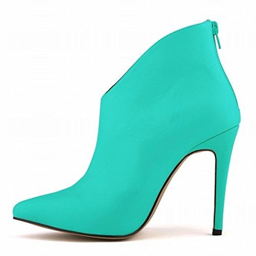 HooH Femmes Sexy Matte Pointu Stiletto Escarpins Bottines Turquoise