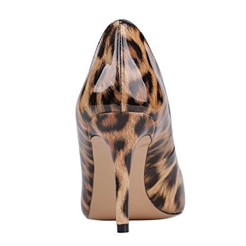 Eks Pointed toe Pumps Stilettos Damen Leopard Heels Dress lackleder rzRqrF
