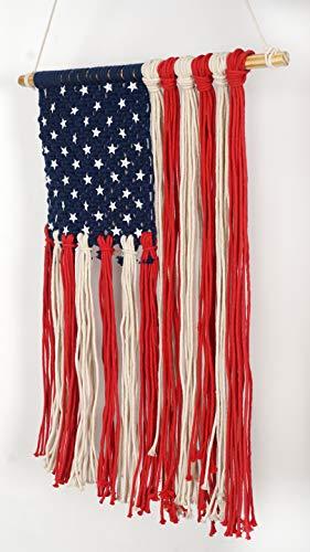 Homeizen Makramee Flagge Wand Tapisserie USA Flagge -, die aus natürlichen Virgin Baumwolle Bindekordeln Geflochten -