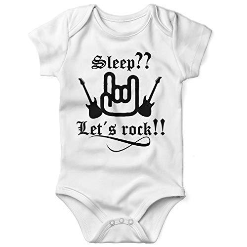 Mikalino Babybody mit Spruch für Jungen Mädchen Unisex Kurzarm Sleep let s Rock | handbedruckt in Deutschland | Handmade with Love, Farbe:Weiss, Grösse:62