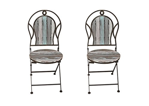 Industrial Chic Wooden and Metal Chair Set of 2