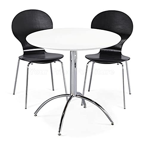 Kimberley Dining Set White Table and 2 Black Chrome Metal Keeler Style Stackable Dining Chairs - Kitchen Cafe Bistro Chairs & Small Round Table by Your Price Furniture