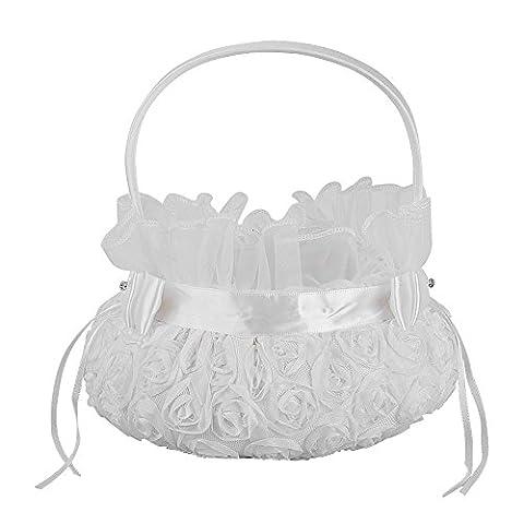 Lugii Cube Blanc pur Rosette romantique Mariage Panier de fleurs Flower Girl Panier pour fête de