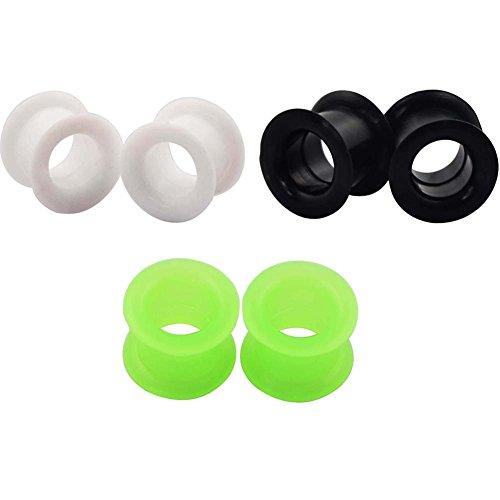 Longbeauty 3colori silicone Tunnel Plugs orecchio Expander 3-25mm, Schwarz&Weiss&Gruen, 8 mm