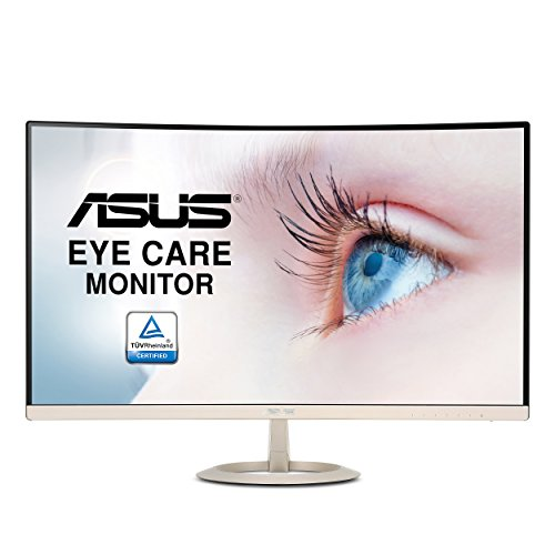ASUS Computer Asus VZ27VQ 68,58 cm (27 Zoll) Curved Monitor (Full HD, VGA, HDMI, DisplayPort, 5ms Reaktionszeit, Lautsprecher) schwarz/gold