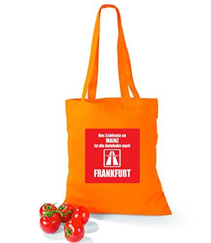 Artdiktat Baumwolltasche Das Schönste an Mainz ist die Autobahn nach Frankfurt sunflower orange
