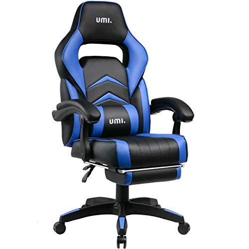 Umi. by Amazon - Silla Gaming Escritorio Oficina Garantía de 2 años con Reposapiés Respaldo Reclinable Silla Ergonómica Silla Gamer Color Azúl