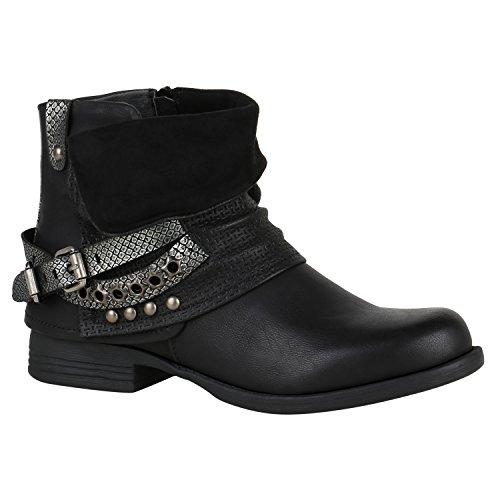 n Stiefeletten Biker Boots Nieten Schnallen Leder-Optik Schuhe 148770 Schwarz Glitzer 41 Flandell (Schwarze Glitzer Stiefel)