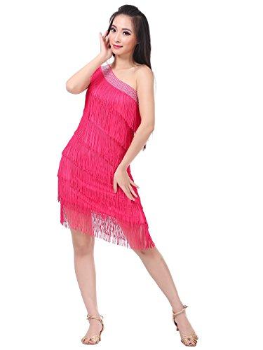 Dance Fairy Frauen One Shoulder Tiered Quasten Swing Rhythmus Latin Dance Kleid Rose (Box Drama Kostüm Sets)