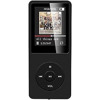 """AGPTek A02 IL lettore MP3 8 GB schermo 1,8"""" con Radio e registratore, Il tempo di riproduzione è fino a 70 ore,Nero"""