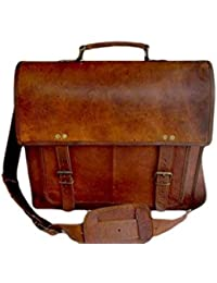 Mens leather record bag