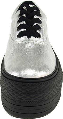 Plataforma C50 Tc 5 sneakers Bota Freizeit prata loch Maxstar top Baixos RCdnCz0