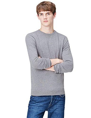 Find pullover in cashmere con scollo rotondo uomo, grigio (grey smoke gp-6174), x-small